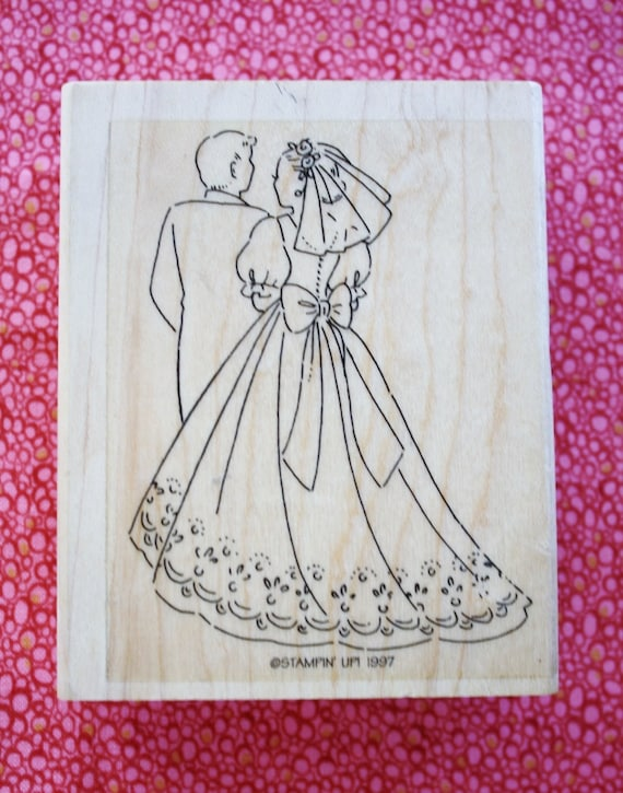 Bride and groom rubber stamp by stampin up 1997 for Wedding dress rubber stamp