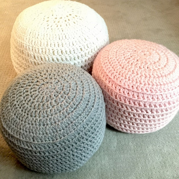 Crochet Ottoman : Pink and Grey Blue Hand Crochet Ottoman Pouf, Footstool, Cushion ...