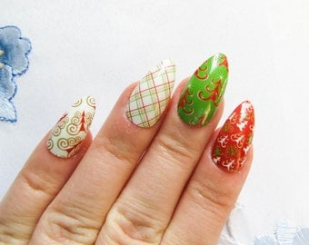 Christmas Fake Nails, Stiletto Nails, Press on Nails, Acyrlic Nails, False Nails, Winter, Christmas, Tree, Nails