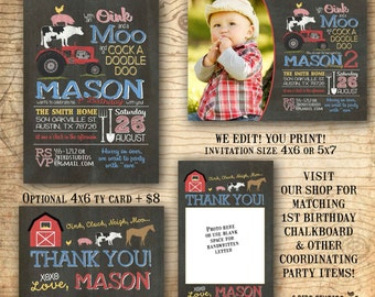 Barnyard birthday invitation - Farm birthday invitation - Farm animal birthday invite - Barnyard party invitation - You print chalkboard