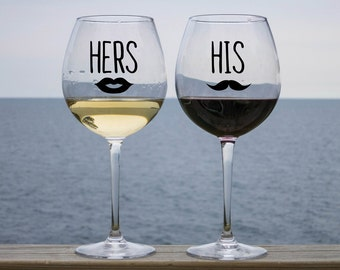 His and Her Vinyl Decal, His and Her Decal, Bridal Wine Glass Decal, Wedding Decal, Wine Glass Decal, Wedding Wine Glass Decal, Couple Glass