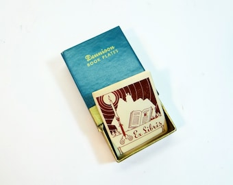 Vintage Dennison Matchbox Book Plate Labels - ExLibris -  Office Supplies - Altered Art