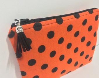Halloween Polka Dot Zipper Pouch. Black White Stripes. Spooky Makeup Bag. Travel Bag. Toiletries. Black, Orange. Halloween Clutch. Purse.