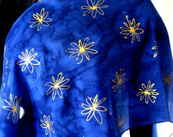 Deep Blue and Gold Silk Scarf. 15x60 inch Hand Dyed Sapphire Blue Scarf, with Hand Painted Golden Accents. Blue Scarves. Great Gift Idea.