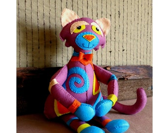 Nursery Felt Toy, Large Baby Shower Gift, Stuffed Cat Amigurumi, Birthday Newborn Christmas Childs Gift,