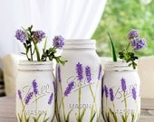 Lavender Flower Mason Jar Vases - Painted and Distressed Mason Jars - Lavender Mason Jars - Wedding Centerpiece