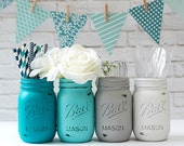 Painted Mason Jars - Teal, Aqua, Gray, White - Wedding Centerpiece, Baby Shower, Shabby Chic Vase