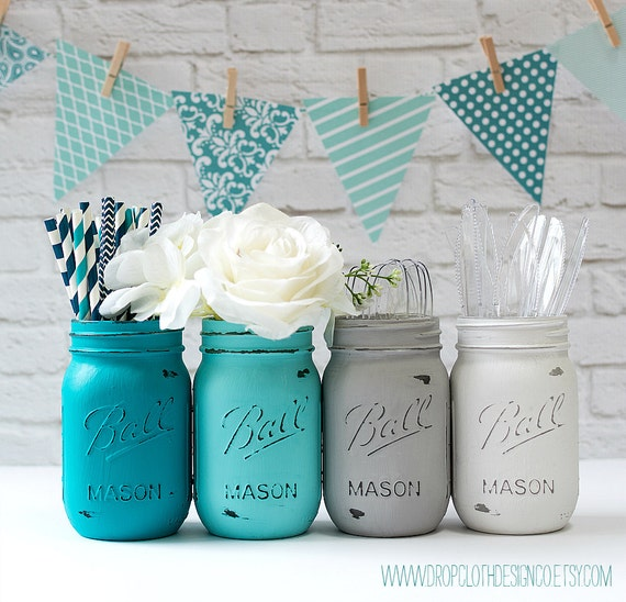 Painted mason jars teal aqua gray white wedding - Idee deco baby shower ...