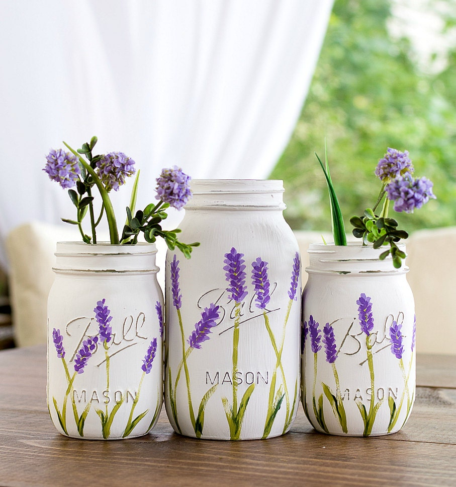 Wedding Flowers In Mason Jars: Lavender Flower Mason Jar Vases Painted And Distressed Mason