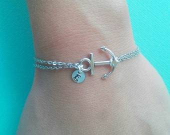 Silver anchor bracelet with initial