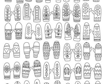 Coloring Page Winter Mittens