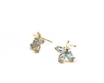 Blue Topaz stud earrings, gold earrings,Pearl earrings, delicate earrings, unique earrings, bridal earrings, wedding earrings