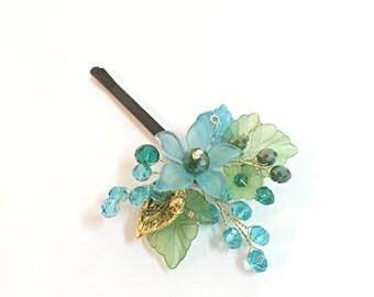Flower girl hair accessories, flower girl headpiece, bobby pin flower girl gift, flower girl hair clip, flower girl hair pin, bobby pin blue