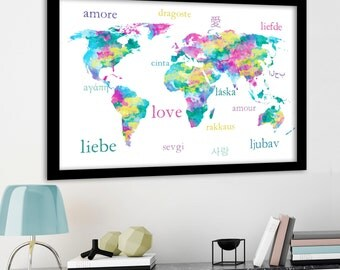 Love in different languages World Map Pastel print for baby girl nursery Pastel World Map typography poster Language of love Canvas mapprint
