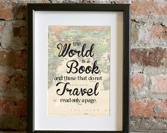 World Is a Book Art Print Notecard Atlas World Map Typography Quote