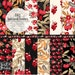 AUTUMN digital paper fall berries and flowers for floral fall wedding invitations. Red, gold, khaki and black leaves, flowers.