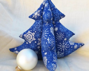 Decorative Fabric Tree - Office Desk Holiday Decor, Plush Dark Blue and Silver Snowflakes, Winter Evergreen L Stuffed Christmas Tree