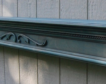 Turquoise Stained Fire Place Mantel - Crown Molding Wall Shelf