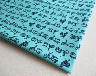 Vespa Fabric, Car, Motorcycle, Vintage Scooter, Vehicle, Boy Shirt, Baby shower, boy, kid, toy, pillow cover, curtain, CT491