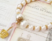 "Bracelet ""Daughter of the King"" Beaded Bracelet & Bookmark Princess Bracelet Gold Pink Couture Strength for the Journey Strength4theJourney"