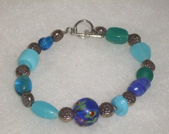 Handmade BRACELET BLUE Glass Beads, Cobalt Blue, Turquoise, Silver Plated  Spacers, Silver Clasp,size  7 1/4""