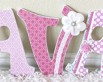 Custom Nursery Letters, Girl Nursery Decor, Personalized Baby Name- Wooden Hanging Letters -Wall Letters- The Rugged Pearl