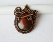 Wire wrapped Jasper pendant, Wire weaved stone jewelry, Handmade Copper wire work pendants