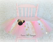 Inspired by Minnie Mouse High Chair Tutu in Pink and Gold Polka Dot Birthday Party Decoration, Tulle Table Skirt. Cake Smash First 1st