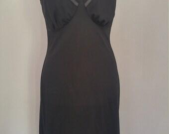 Vintage 1950s black nylon full slip, Lorraine, size 36