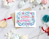Christmas Cards - Peppermint Wishes and Marshmallow Dreams Card - Boxed Card Set - Unique Christmas Card - Hand Lettered Holiday