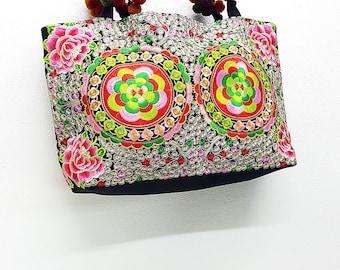 Thai Hill Tribe Bag Pom Pom Hmong Thai Bag Embroidered Ethnic Purse Woven Bag Hippie Bag Hobo Bag Boho Bag Shoulder Bag Tote Handbags Flower
