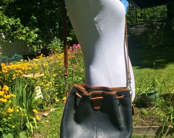 Navy and tan crossbody bag
