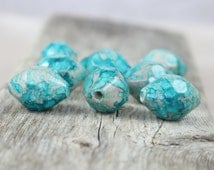 Acrylic Watercolor Faceted Bicone Beads - Grey/Blue (turquoise) - 22mm - 8 Beads