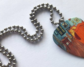 The Bedroom Guitar Pick Necklace with Stainless Steel Ball Chain - fine art accessories - artist Vincent van Gogh
