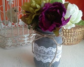 Shabby Chic Purple, Green Flower Pens with Jar Vase