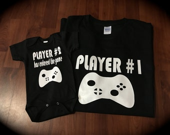 PLAYER 1 PLAYER 2 has entered the game video games funny cute novelty gift one piece pregnancy announcement