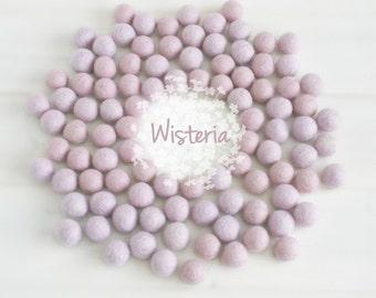 Wool Felt Balls - Size, Approx. 2CM - (18 - 20mm) - 25 Felt Balls Pack - Color Wisteria-3010 - Felt Pom Poms - Light Lavender Felt Balls