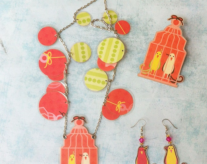 Jewelry set - paper jewelry - cage bird necklace - charm necklace -locket necklace - paper bird earrings - bird cage brooch -dangle earrings