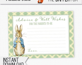 Peter Rabbit Baby Shower games Advice Cards - printable - Beatrix Potter Advice and wishes for baby shower Boy Girl Gender Neutral Green