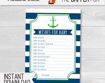 Nautical Wishes for Baby Cards Baby Shower games - Navy and Green printable - Boy Girl Neutral Nautical Baby Shower Preppy Sailor Anchor