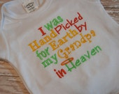 Hand Picked by my Grandpa in Heaven Baby Gift, Take Home Outfit, New Baby