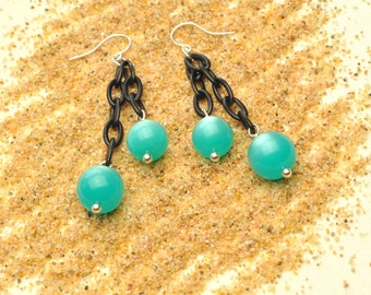 Aqua Vintage Lucite Moonglow Lightweight Retro Dangle Earrings