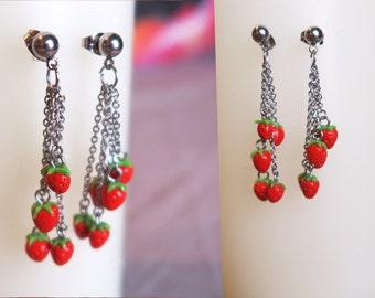 Dangling strawberry earrings - Fruit Jewelry - Fruit earrings - Miniature Food Jewelry