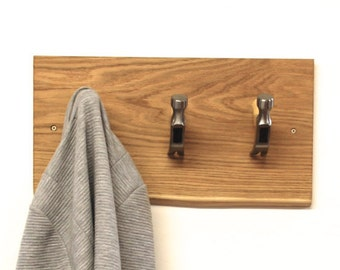 Industrial Hammer Head Hooks - Gifts For Men -  Fathers Day - Dad Gift - Wall Coat Rack - Coat Hooks - Industrial Furniture - Man Cave - Oak
