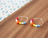 sterling silver rainbow bright czech glass hoop earrings