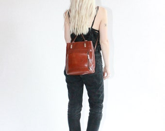 Vintage 90s Tan Leather Rucksack