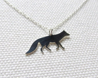 Silver Fox Necklace Tiny Small Petite Fox Dainty Animal Necklace Charm Thin Sterling Silver Chain Nature Jewelry