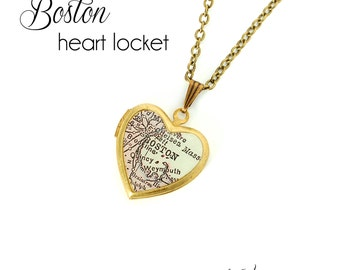 Boston Antique Map Necklace, Map Locket Necklace, Massachusetts, City Necklace, Brass Heart Locket, Gift for Her, Antique Map Jewelry