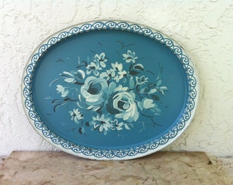 Beautiful Blue Oval Tray with Brushwork Roses, Tin Tray, Painted Design, White Roses, Pastel Blue, Scroll Edge Design, Vintage Serving Tray