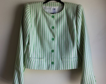 UNGARO Cropped Jacket with Green and White Stripes || Medium || 1980s